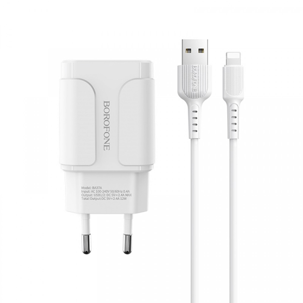 Incarcator retea cu cablu iPhone  2.4 A, 2x USB, Borofone BA37A Alb 0