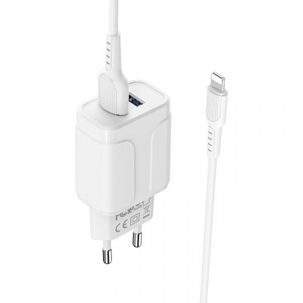 Incarcator retea cu cablu iPhone  2.4 A, 2x USB, Borofone BA37A Alb 3