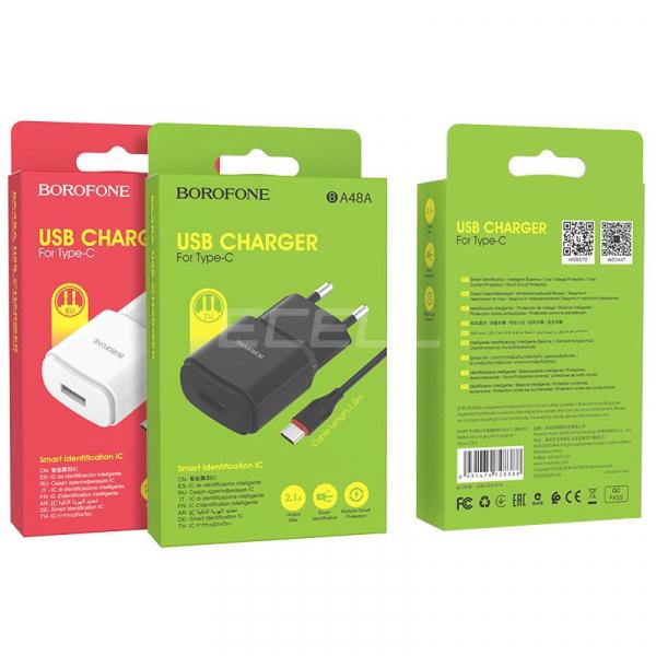 Incarcator retea cu cablu USB C Type C  2.1 A, 1x USB, Borofone BA48A Orion Negru 2