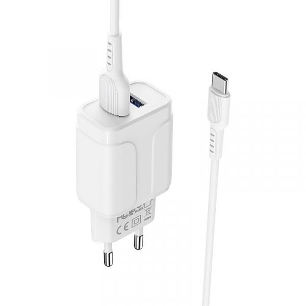Incarcator retea cu cablu Usb C Type C  2.4 A, 2x USB, Borofone BA37A Alb 4
