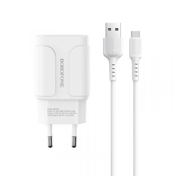 Incarcator retea cu cablu Usb C Type C  2.4 A, 2x USB, Borofone BA37A Alb 0