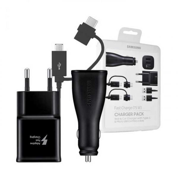 Set incarcare Charger Pack Samsung , Incarcator auto + incarcator retea + 2 cabluri 1