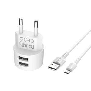 Incarcator retea cu cablu USB Type C  2.4 A, 2x USB, Borofone BA23A Alb 1