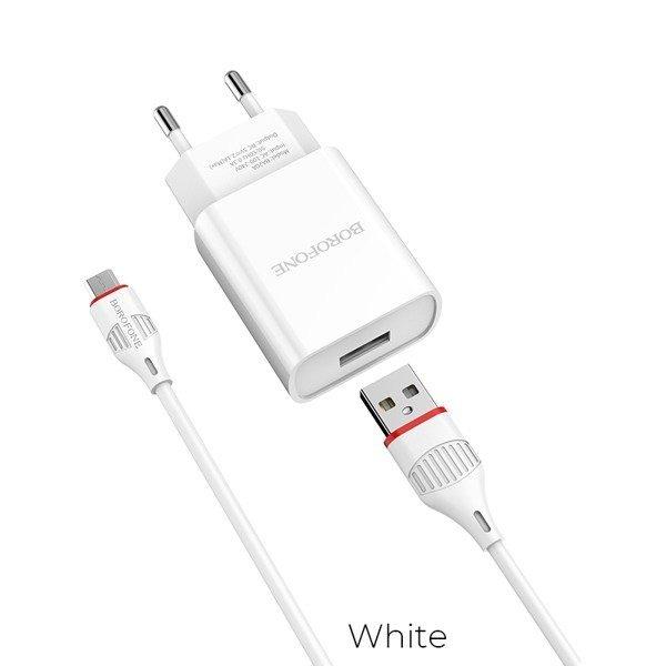 Incarcator retea cu cablu Micro Usb  2.1 A, Borofone BA20A Alb 0