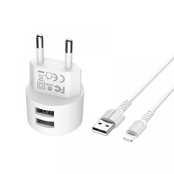 Incarcator retea cu cablu iPhone  2.4 A, 2x USB, Borofone BA23A Alb 1