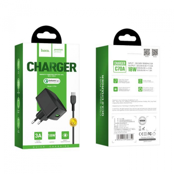 Incarcator retea cu cablu USB Type C Quick Charge 1.5A 1x USB plug QC3.0 + Type-c cable C70A 0