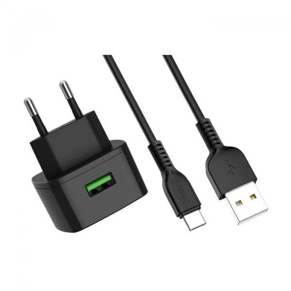 Incarcator retea cu cablu USB Type C Quick Charge 1.5A 1x USB plug QC3.0 + Type-c cable C70A 2
