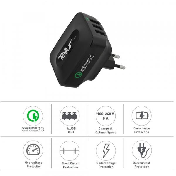 Incarcator retea 3 usb, QuickCharge  QC 3.0 – 3 USB ports 5A (1 x QC 3.0 & 2 x USB) 1