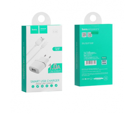 Incarcator retea Micro USB HOCO C11 1A Alb Blister Original 1