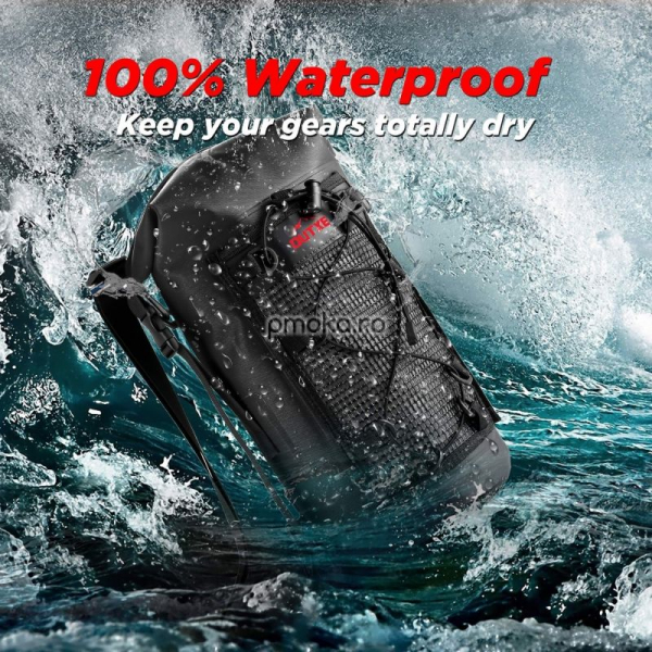 OUTXE IPX7 100% Waterproof TPU 10L Backpack Black, impermeabil 1