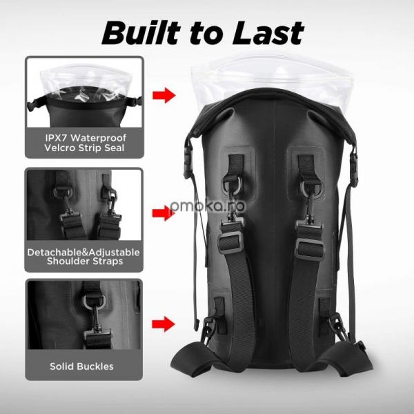 OUTXE IPX7 100% Waterproof TPU 10L Backpack Black, impermeabil 2