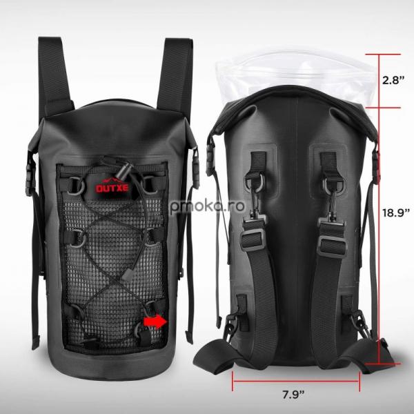 OUTXE IPX7 100% Waterproof TPU 10L Backpack Black, impermeabil 3