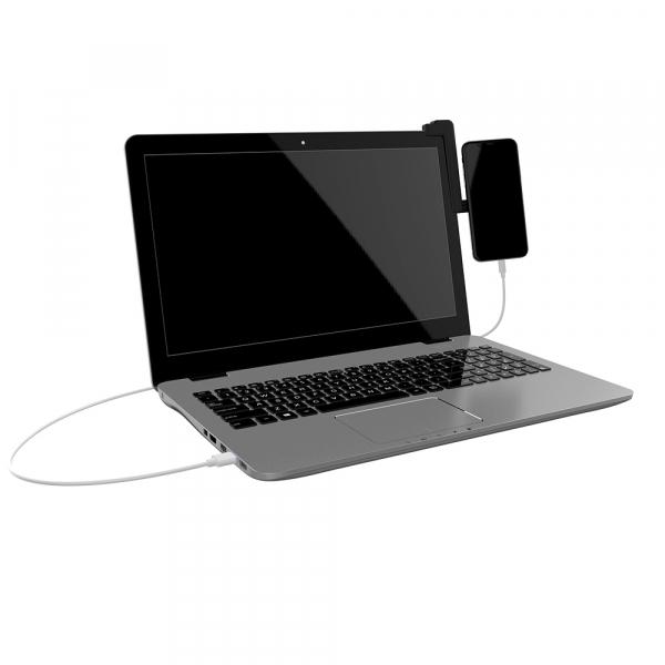 Suport magnetic de telefon pentru ecran laptop Tellur MDM, Negru 4