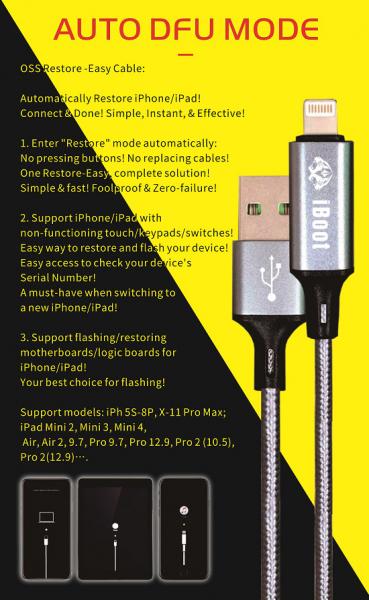 Cablu iPhone DFU auto restore mode  W236 iPhone 5s-11 Pro Max / all Ipads - recover mode / 1m 0