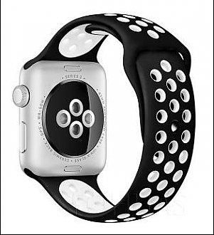 Curea bratara Sport Alb/Negru pentru Apple Watch 42mm 0