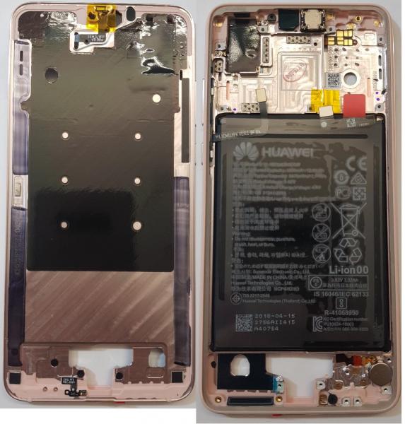 Carcasa mijloc rama cu acumulator Huawei P20 Pink Gold Original 0