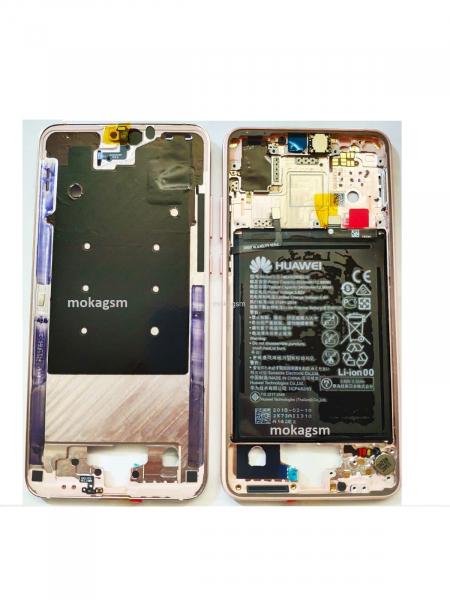 Carcasa mijloc rama Huawei P20 Pink cu baterie Original 0