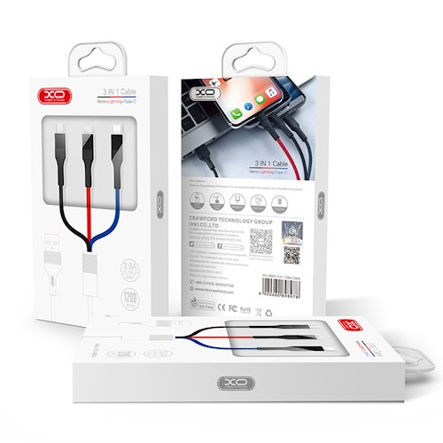 Cablu date iPhone + Type C + Micro Usb XO Cable NBNB54 3in1 (8-pin/micro/type-C) multicolor 3