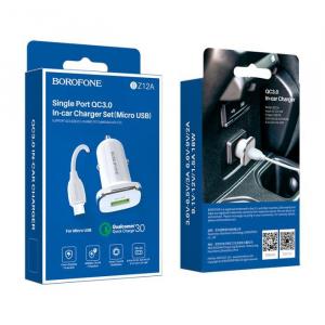 Incarcator Auto cu cablu Micro USB 3A 1x USB QC3.0  BZ12A0