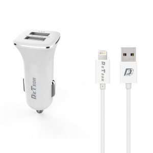 Incarcator auto DeTech DE-C01i, 5V/2.4A 2xusb,  cu cablu date iPhone inclus [0]