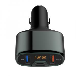 Incarcator auto Tellur cu 3 Porturi + Voltmetru, QC 3.0, 5.4A, 32W0
