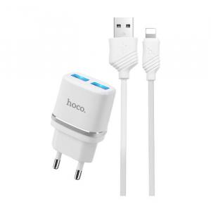 Incarcator retea cu cablu iPhone 2.4A 2x USB plug + IPHONE lightning cable C12 set ALB [0]