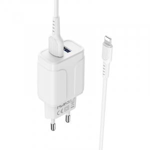 Incarcator retea cu cablu iPhone  2.4 A, 2x USB, Borofone BA37A Alb3