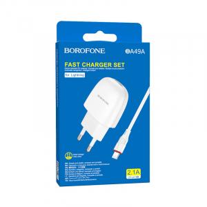 Incarcator retea cu cablu iPhone  2.1A, 1x USB, Borofone BA49A Vast Power Alb3