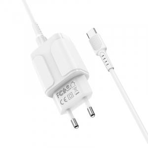 Incarcator retea cu cablu Usb C Type C  2.4 A, 2x USB, Borofone BA37A Alb2