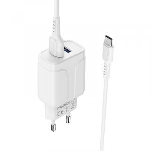 Incarcator retea cu cablu Usb C Type C  2.4 A, 2x USB, Borofone BA37A Alb4