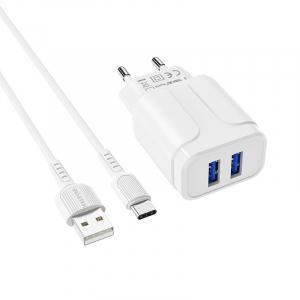 Incarcator retea cu cablu Usb C Type C  2.4 A, 2x USB, Borofone BA37A Alb1