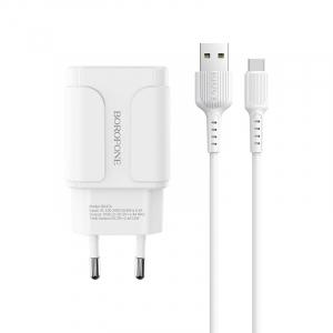 Incarcator retea cu cablu Usb C Type C  2.4 A, 2x USB, Borofone BA37A Alb0
