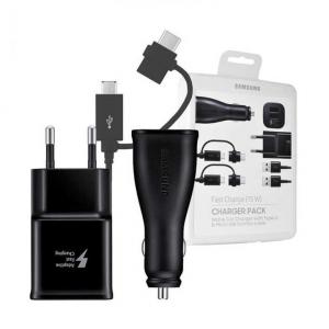 Set incarcare Charger Pack Samsung , Incarcator auto + incarcator retea + 2 cabluri1