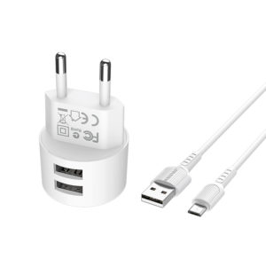 Incarcator retea cu cablu USB Type C  2.4 A, 2x USB, Borofone BA23A Alb0