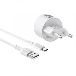 Incarcator retea cu cablu USB Type C  2.4 A, 2x USB, Borofone BA23A Alb2