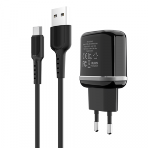 Incarcator retea cu cablu USB Type C  2.4 A, 2x USB, Borofone BA25A Black1