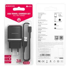 Incarcator retea cu cablu USB Type C  2.4 A, 2x USB, Borofone BA25A Black2