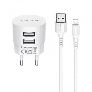 Incarcator retea cu cablu iPhone  2.4 A, 2x USB, Borofone BA23A Alb0