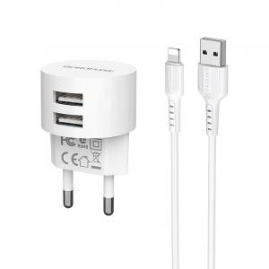 Incarcator retea cu cablu iPhone  2.4 A, 2x USB, Borofone BA23A Alb2