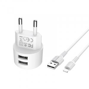 Incarcator retea cu cablu iPhone  2.4 A, 2x USB, Borofone BA23A Alb1