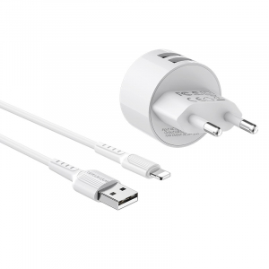 Incarcator retea cu cablu iPhone  2.4 A, 2x USB, Borofone BA23A Alb3