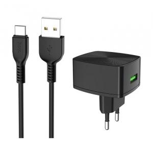 Incarcator retea cu cablu USB Type C Quick Charge 1.5A 1x USB plug QC3.0 + Type-c cable C70A1