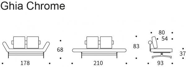Canapea de zi Ghia cu picioare cromate 19
