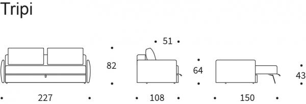 Canapea Extensibila cu depozitare TRIPI 36