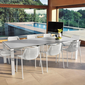 Round Extensible table with Hpl top 160+54+54×100 – Emu2