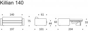 Canapea extensibila Killian 140x200cm (Dual Mattress ) [5]