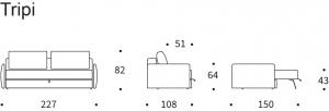 Canapea Extensibila cu depozitare TRIPI36