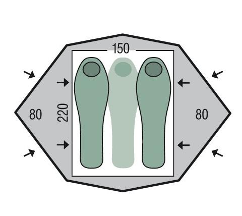 Cort Pinguin Gemini 150 green pack, 2-3 persoane, 220x150cm, verde [1]