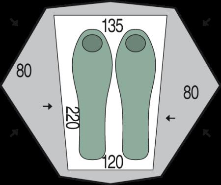 Cort Pinguin Aero 2 DAC, 2 persoane, verde [1]
