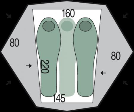 Cort Pinguin Aero 3 DAC, 3 persoane, verde [1]